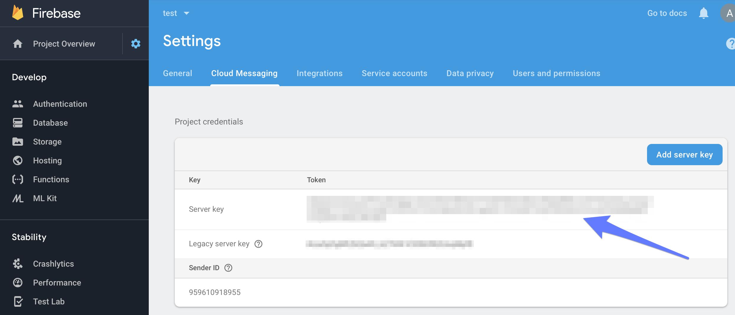 Firebase Cloud Messaging Settings
