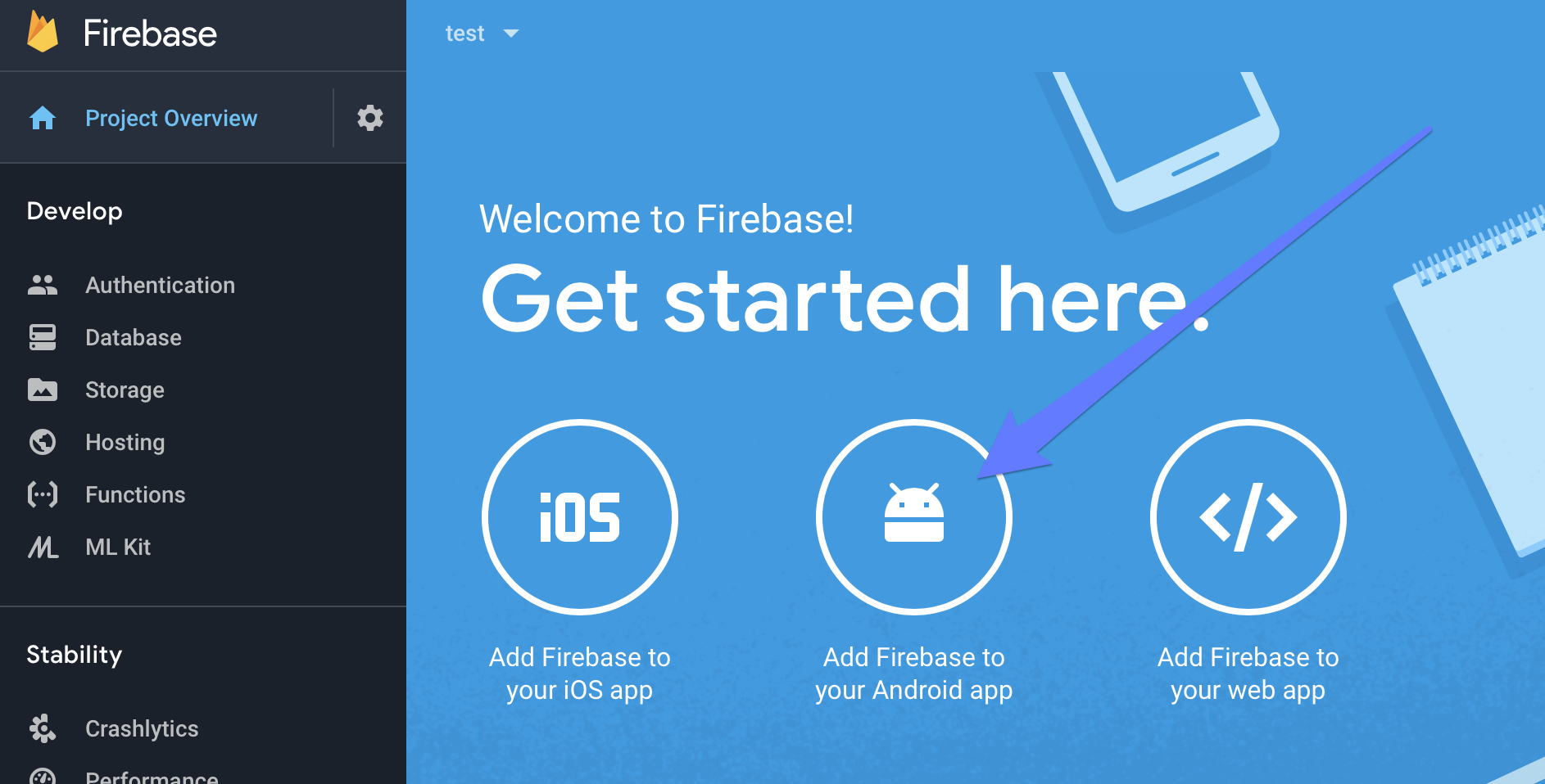 Getting Started screen on Firebase
