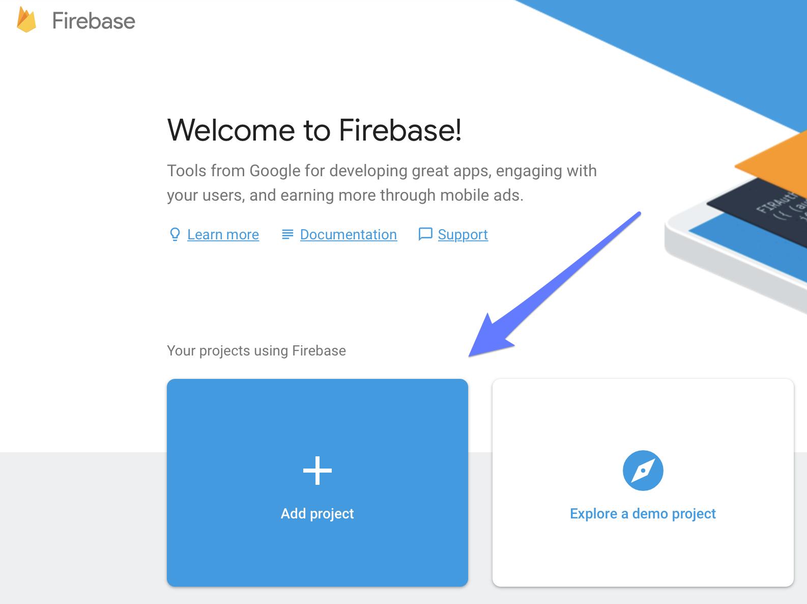 Welcome to Firebase screen