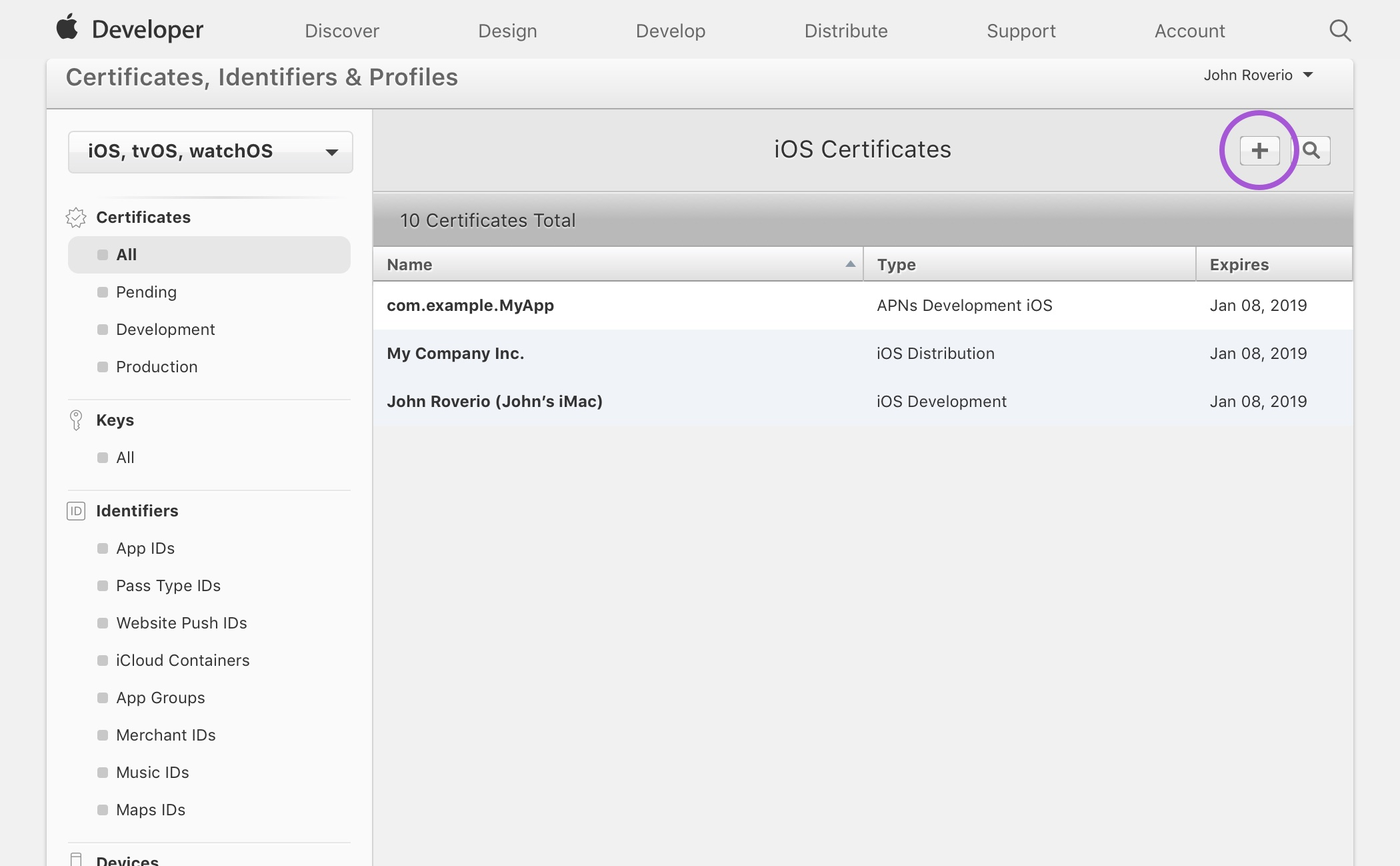 Certificates, Identifiers & Profiles
