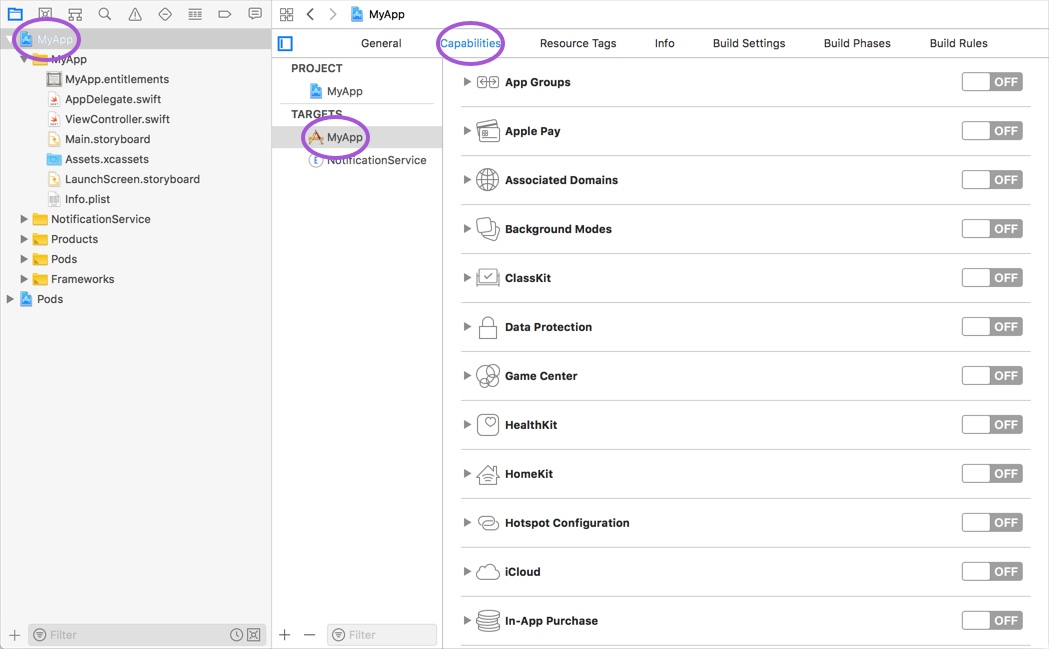 Xcode Capabilities Tab